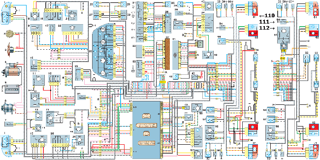 Общая электросхема ВАЗ -110, -111, -112