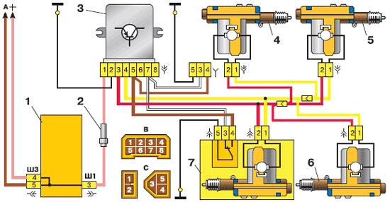 Схема центрального замка