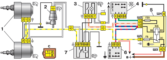 Схема фароочистителей
