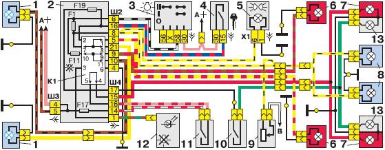 Схема ламп стоп-сигнала, заднего хода и габаритного света