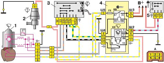 Схема переднего очистителя и омывателя стекла