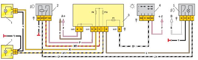 Схема переднего противотуманного света