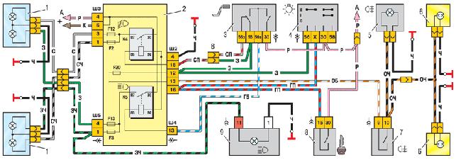 Схема переключателя освещения, лампы заднего противотуманного света
