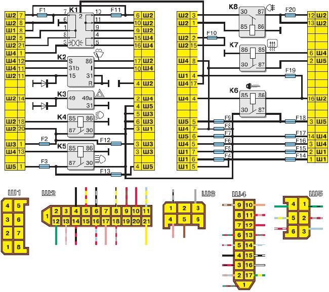 Схема соединений монтажного блока