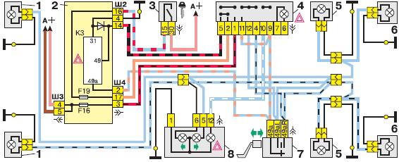 Схема указателей поворота и аварийной сигнализации