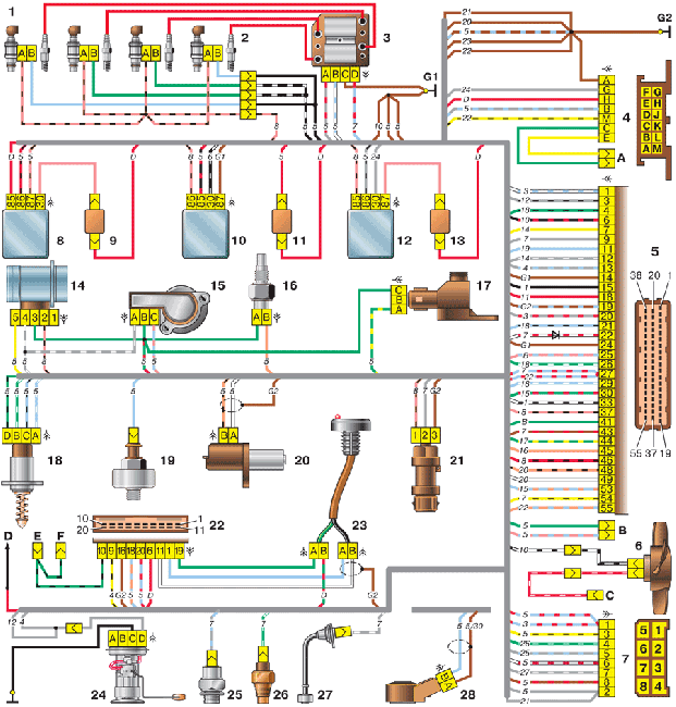 Схема управления двигателем ВАЗ 2111 - 1.5л., 8-клапанный (Bosch М 1.5.4)