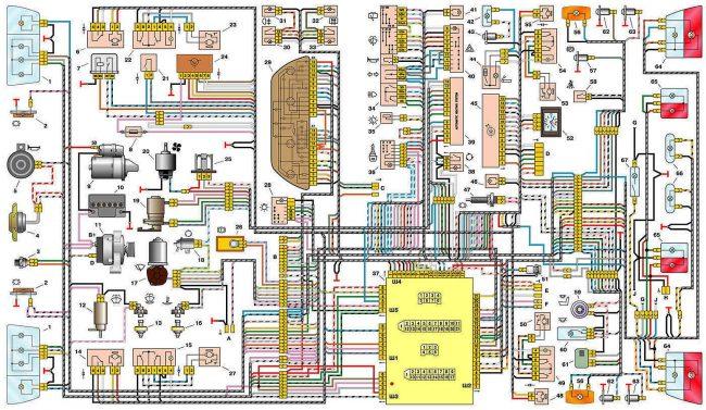 Электрическая схема автомобиля ВАЗ-21102